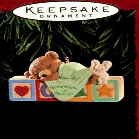 Grandchild's First Christmas Ornament - Baby Teddy Bear Sleeping on Toy Children's Blocks - 1995 Hallmark Keepsake Series