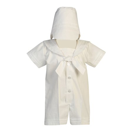 Baby Boys White Poly Cotton Sailor Outfit Baptism Set 6-12M - Sailor Outfit