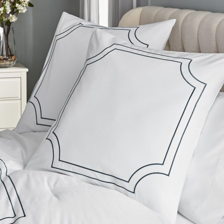 Hotel Style Florence Embroidered Euro Shams, 2 Pieces
