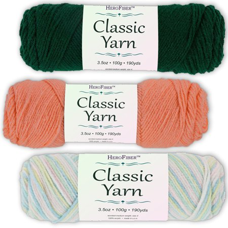 Soft Acrylic Yarn 3-Pack, 3.5oz / ball, Green Forest + Pink Coral + Blend Hushabye. Great value for knitting, crochet, needlework, arts & crafts projects, gift set for beginners and pros