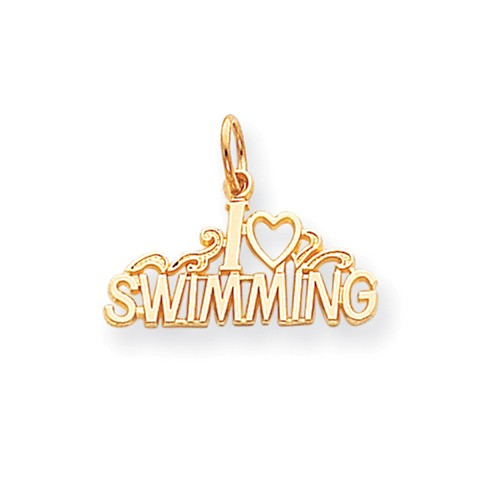 10k Yellow Gold Swimming Charm Pendant by Jewelrypot