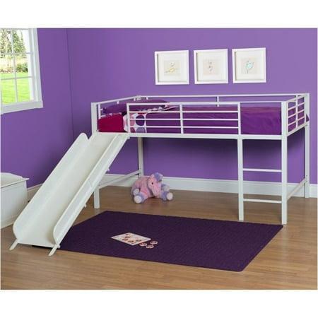 Pemberly Row Metal Twin Loft Slide Bed In White Walmart Com