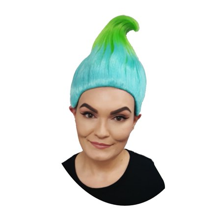 Trollz Sky Blue And Lime Wig Cosplay Costume Movie TV Hair Trolls Halloween