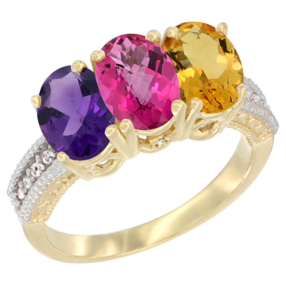 10K Yellow Gold Diamond Natural Amethyst, Pink Topaz & Citrine Ring Oval 3-Stone 7x5 mm,sizes 5-10 by WorldJewels