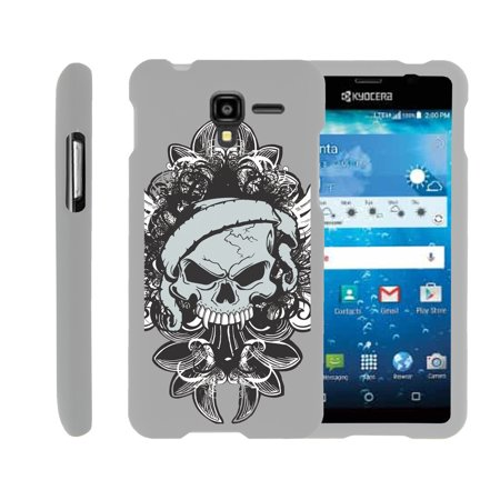 Kyocera Hydro View   Hydro Reach   Hydro Shore   Snap Shell  White  2 Piece Snap On Rubberized Hard White Plastic Cell Phone Case With Exclusive Art    Demon Skull