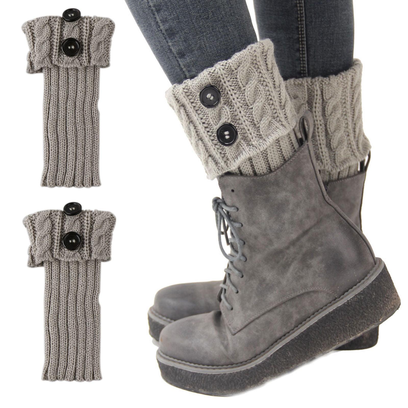 1 Pairs Womens Short Boots Socks Crochet Knitted Boot Cuffs Leg Warmers Socks Winter Warm Cuff Socks Black/White/Gray