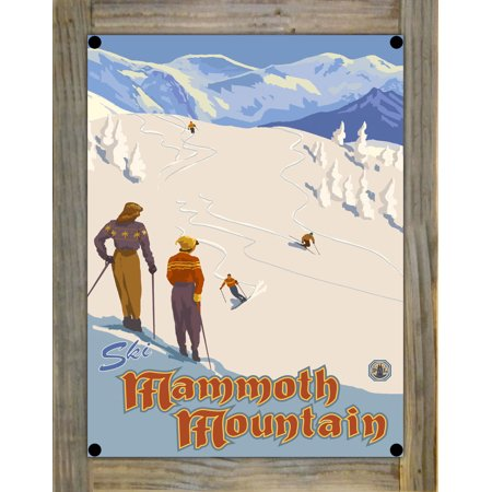 """Ski Mammoth Mountain Mountain Skier Slopes Metal Print on Reclaimed Barn Wood by Paul A. Lanquist (9"""" x 12"""")"""