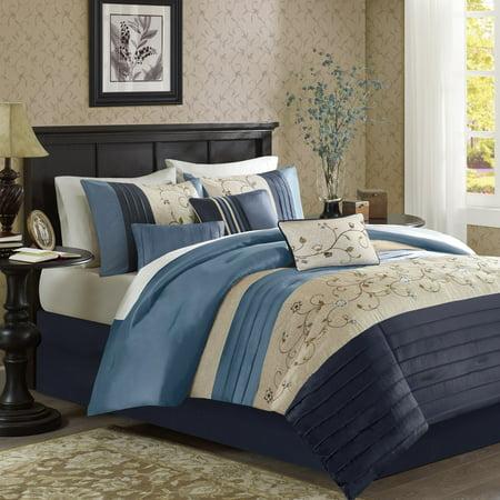Madison Park Serene King Size Bed Comforter Set Bed in A Bag - Navy, Embroidered â?? 7 Pieces Bedding Sets â?? Faux Silk Bedroom