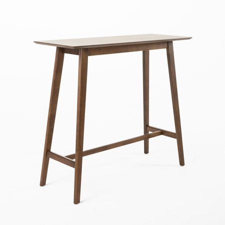 Nous Wood Bar Table, Walnut Finish Finished Bar Table