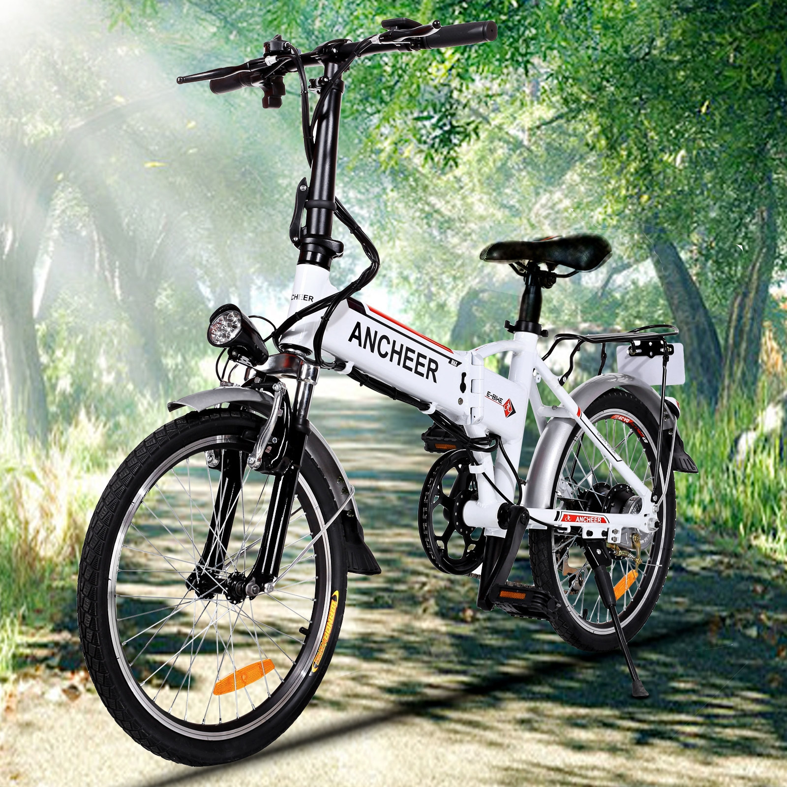 Power Plus Electric Bicycle Folding Electric Mountain Bike with Lithium-Ion Battery White SMT by