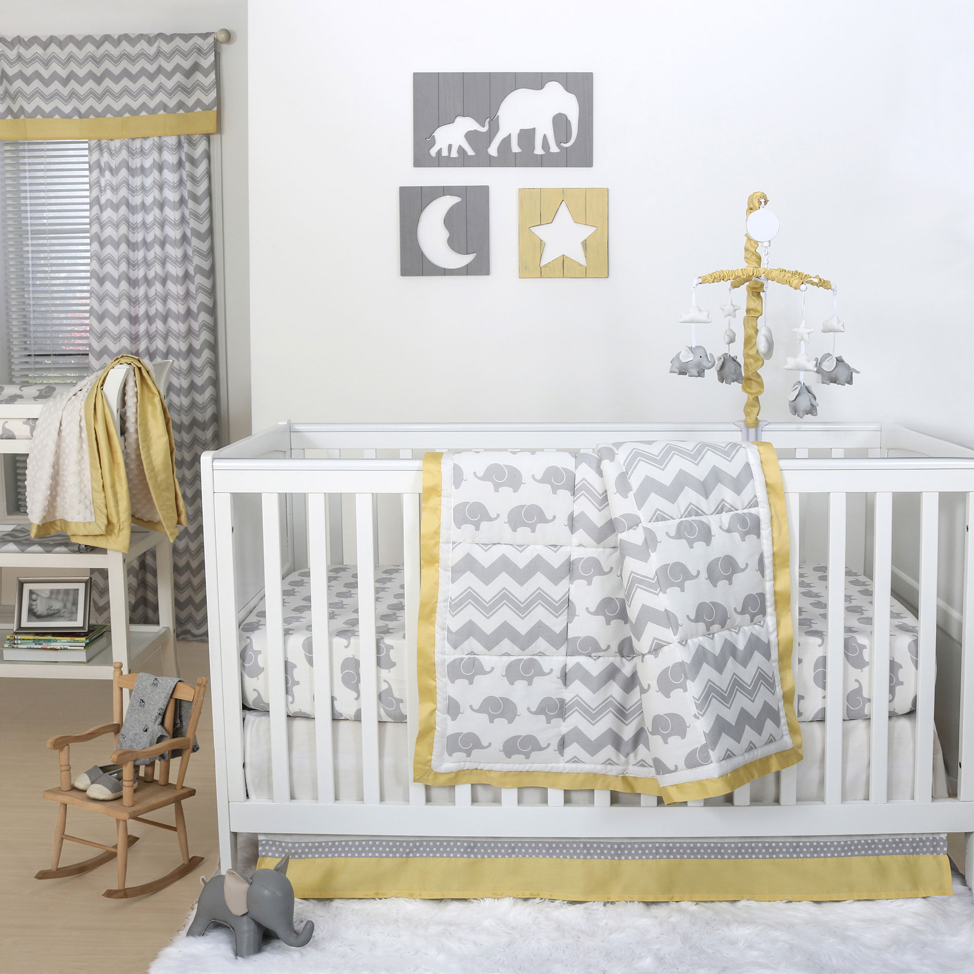 The Peanut Shell 4 Piece Baby Crib Bedding Set - Grey Elephant and Zig Zag with Yellow Trim - 100% Cotton Quilt, Dust Ruffle, Fitted Sheet, and Mobile