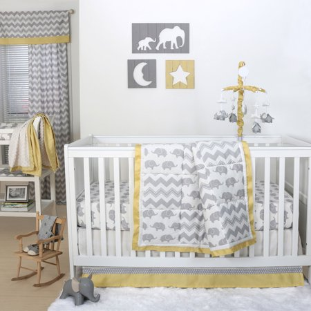 Grey And Yellow Elephant Crib Bedding