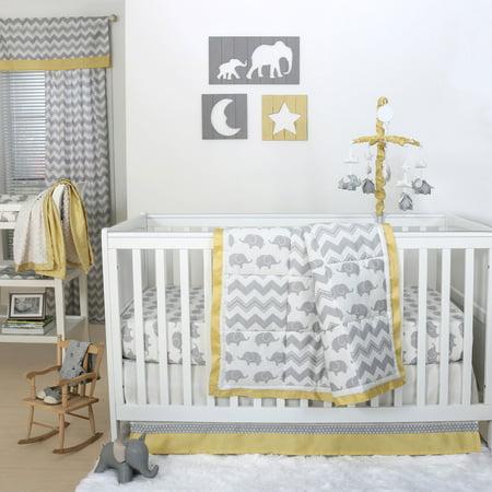 The Peanut Shell 4 Piece Baby Crib Bedding Set Grey