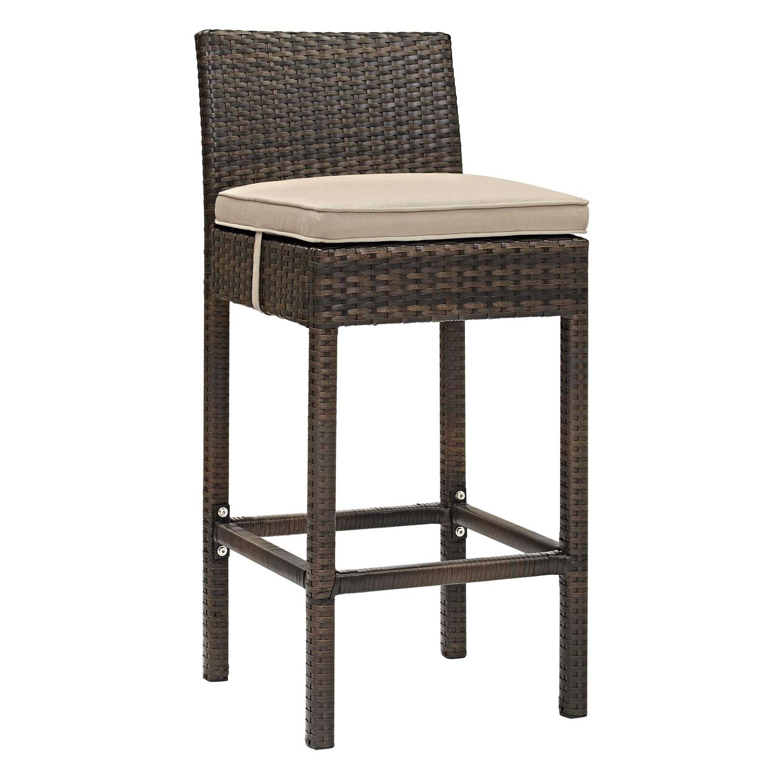Modway Conduit Outdoor Patio Wicker Rattan Bar Stool, Multiple Colors