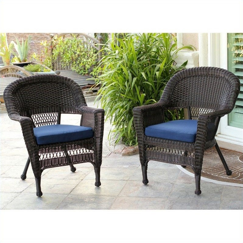 Jeco Wicker Chair in Espresso with Blue Cushion (Set of 2)