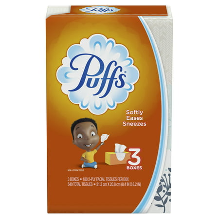 Puffs Everyday Non-Lotion Facial Tissue, 3 Family Boxes, 540 Tissues