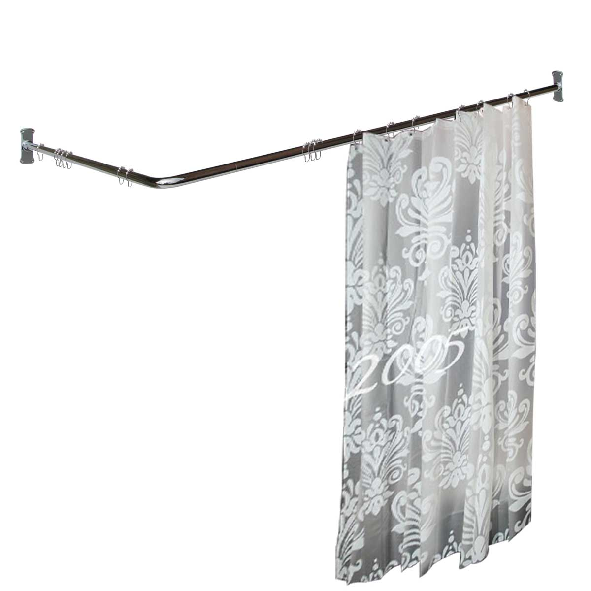 """Two-sided Shower Curtain Rod Chrome Plated Brass 7/8"""" Dia..."""
