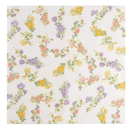 Tea Party Themed Bridal Shower (Floral Paper Napkins - 100-Pack Disposable Tea Party Napkins, Weddings, Bridal Shower Party Supplies, 2-Ply, Vintage Roses, Flower Decoupage, Luncheon Size Folded 6.5 x 6.5)