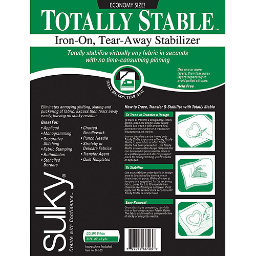 "Totally Stable Iron-On Tear-Away Stabilizer, 20"" x 3 yds"