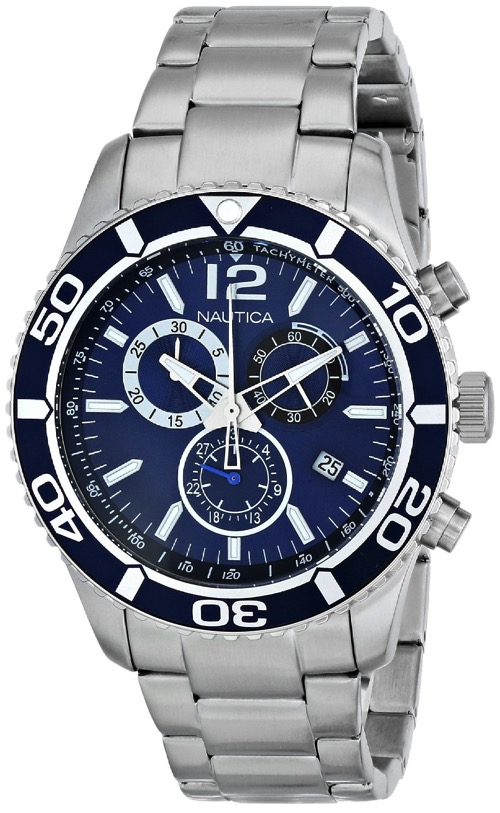 Men's Nautica NST 09 Chronograph Steel Watch N16665G by Nautica