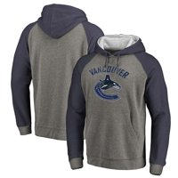 Vancouver Canucks Distressed Primary Logo Raglan Tri-Blend Pullover Hoodie - Gray/Blue