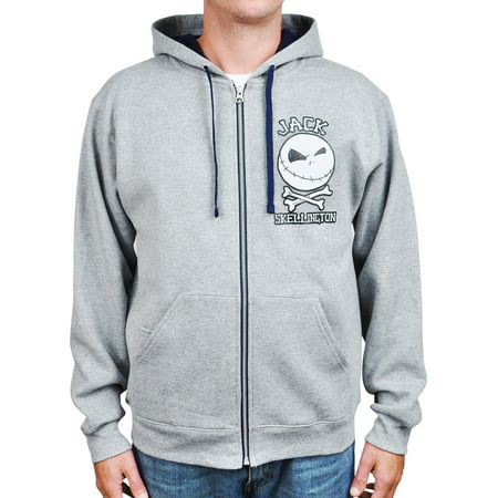 Mens Jack Skellington Zip Hoodie Sweatshirt Gray - Spiderman Hoodie Mens