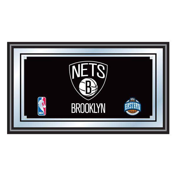 Trademark Global Brooklyn Nets NBA Framed Logo Mirror