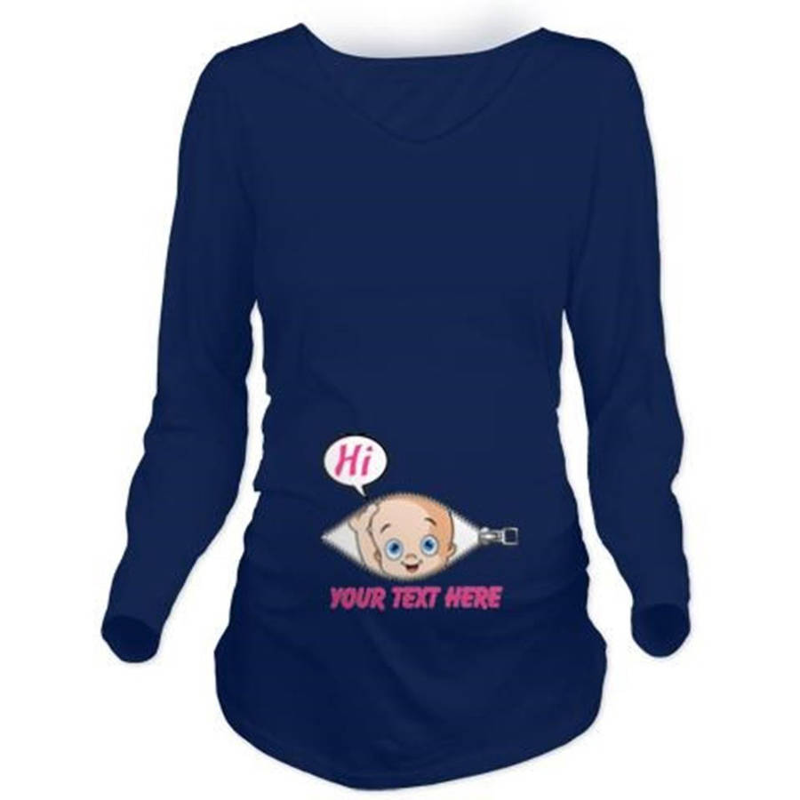 Cafepress Personalized Pink Baby Girl Peek A Boo Long Sleeve Maternity Dark T-Shirt