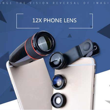 APEXEL 4 in 1 Clip-on Cell Phone Camera Lens Kit, 180°Fish Eye Lens +10x Macro Lens +0.65x Wide Angle Lens +12x Optical Zoom Telephoto Lens for iPhone Samsung Galaxy, All Other (Telephoto Wide Angle Macro 10x Cpl Lens)