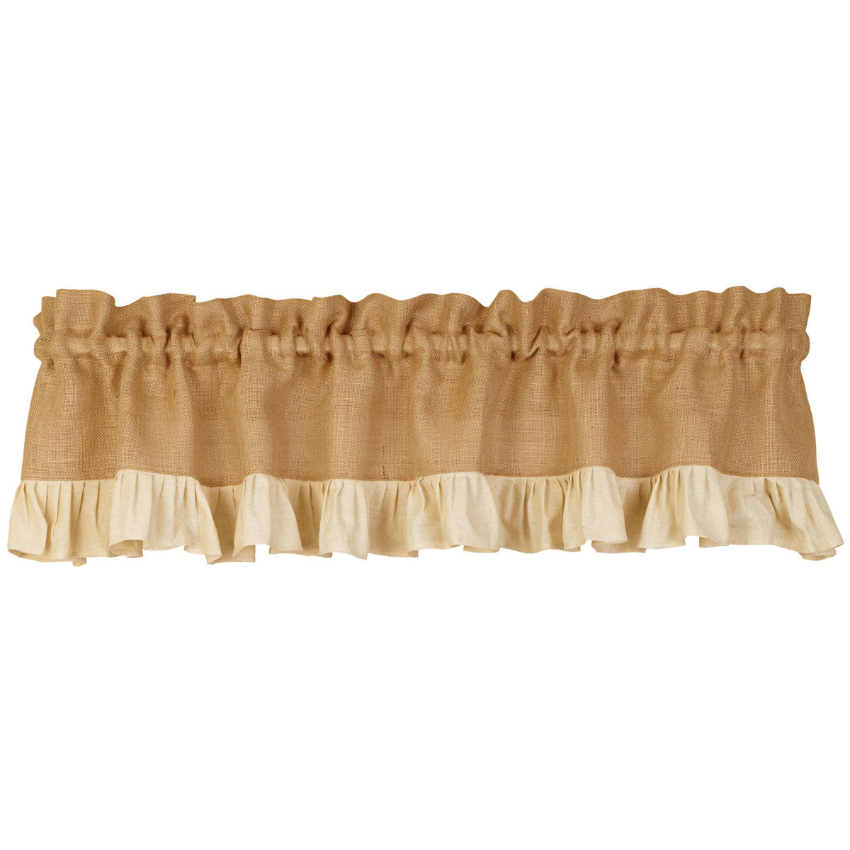 Burlap and Cream Ruffle Country Valance by The Country House Collection