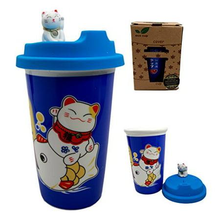 Atlantic Collectibles Lucky Cat Maneki Neko Ceramic Tall Drink Mug Cup With Silicone Lid - Blue Mug Cup