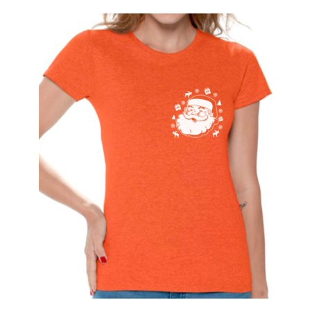 Awkward Styles Santa Pocket Tshirt Women's Santa Ugly Christmas T Shirt Santa Patch Shirt Pocket Size Santa T-Shirt Xmas Shirts for Women Christmas Party Outfit Santa Shirt Funny Santa Gifts for Xmas](Mother Santa Outfits)