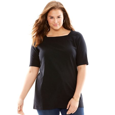 00f6c14186f34 Woman Within - Plus Size Square Neck Perfect Tee - Walmart.com
