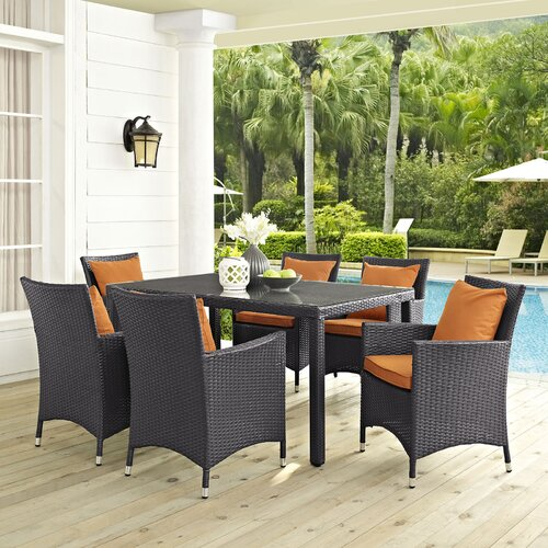 Sol 72 Outdoor Brentwood Outdoor Patio 7 Piece Dining Set with Cushions
