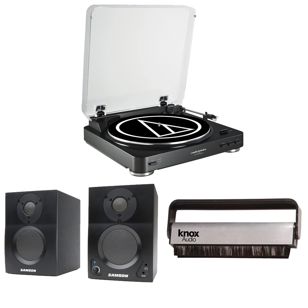 Audio-Technica AT-LP60 Turntable (Black) + Samson SAMBT3 Bluetooth Monitors + Cleaning Brush