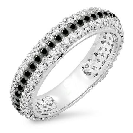 Dazzlingrock Collection 1.30 Carat (ctw) 10K Round White And Black Diamond Ladies Pave Wedding Eternity Band 1 1/3 CT, White Gold