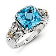Sterling Silver w/ 14k Yellow Gold Blue Topaz Vintage Ring