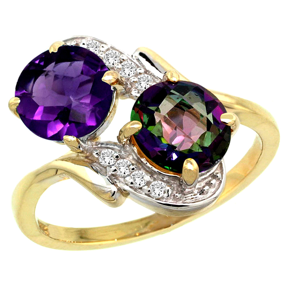 10K Yellow Gold Natural Amethyst & Mystic Topaz Mother's Ring Round 7mm Diamond Accents, 3/4 inch wide, sizes 5 - 10