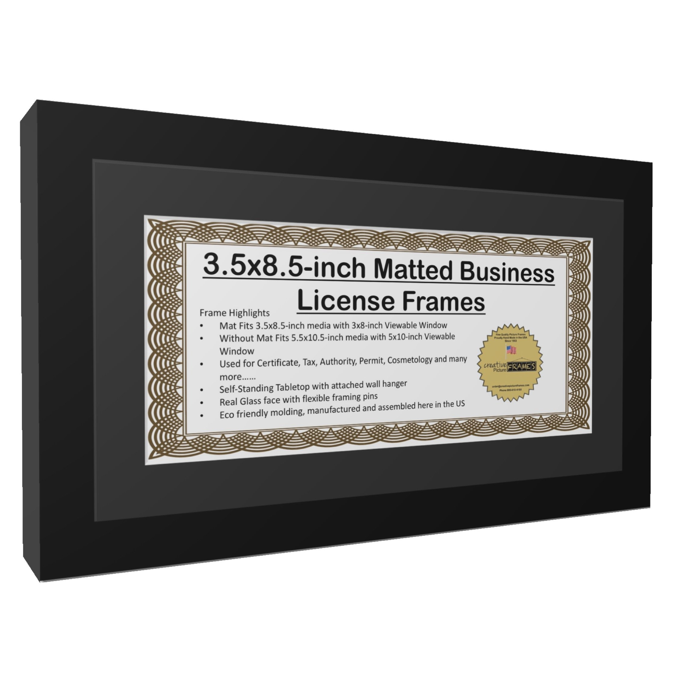 CreativePF [5.5x10.5bk] Business License Frame 3.5 by 8.5-inch Self ...