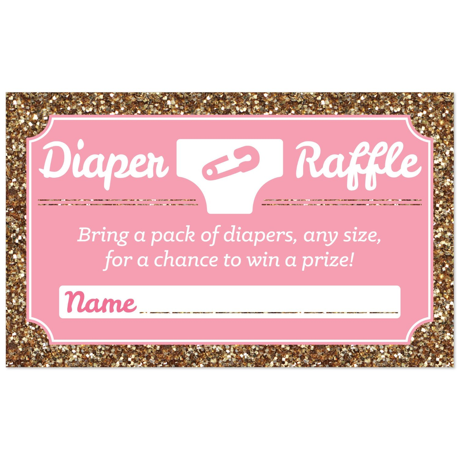 Hello Little One - Pink and Gold - Diaper Raffle Girl Baby Shower Game -18 Count