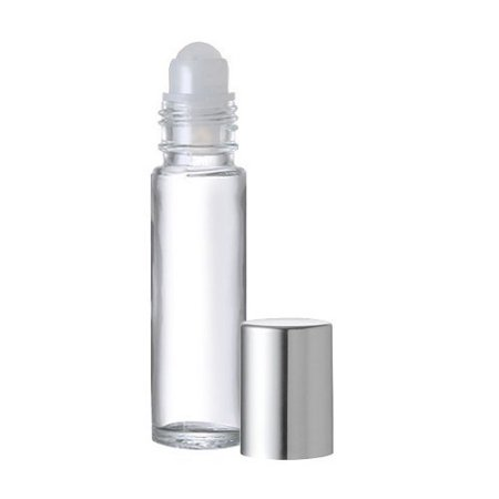 Grand Parfums 10 .33 Fl. Oz./10 Ml. Plain Glass Roll on Bottles Refillables with Balls and Metallic Silver Caps