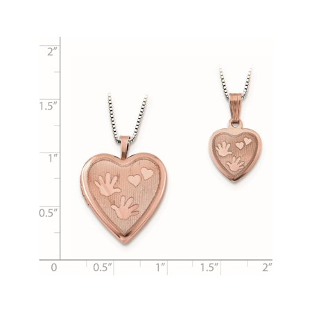 925 Sterling Silver Rose -plated Polished Satin Hand and Hearts Locket & Pe - image 2 of 3
