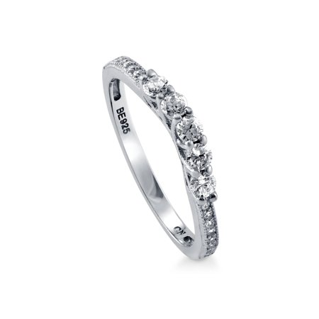 Rhodium Plated Sterling Silver Cubic Zirconia CZ 5-Stone Curved Half Eternity Band Ring Size 3.5 (Brown Rhodium Band)