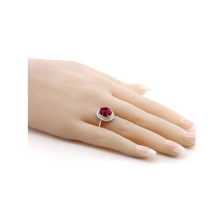 3.80 Ct Oval Red Created Ruby 925 Sterling Silver Ring - image 2 de 4