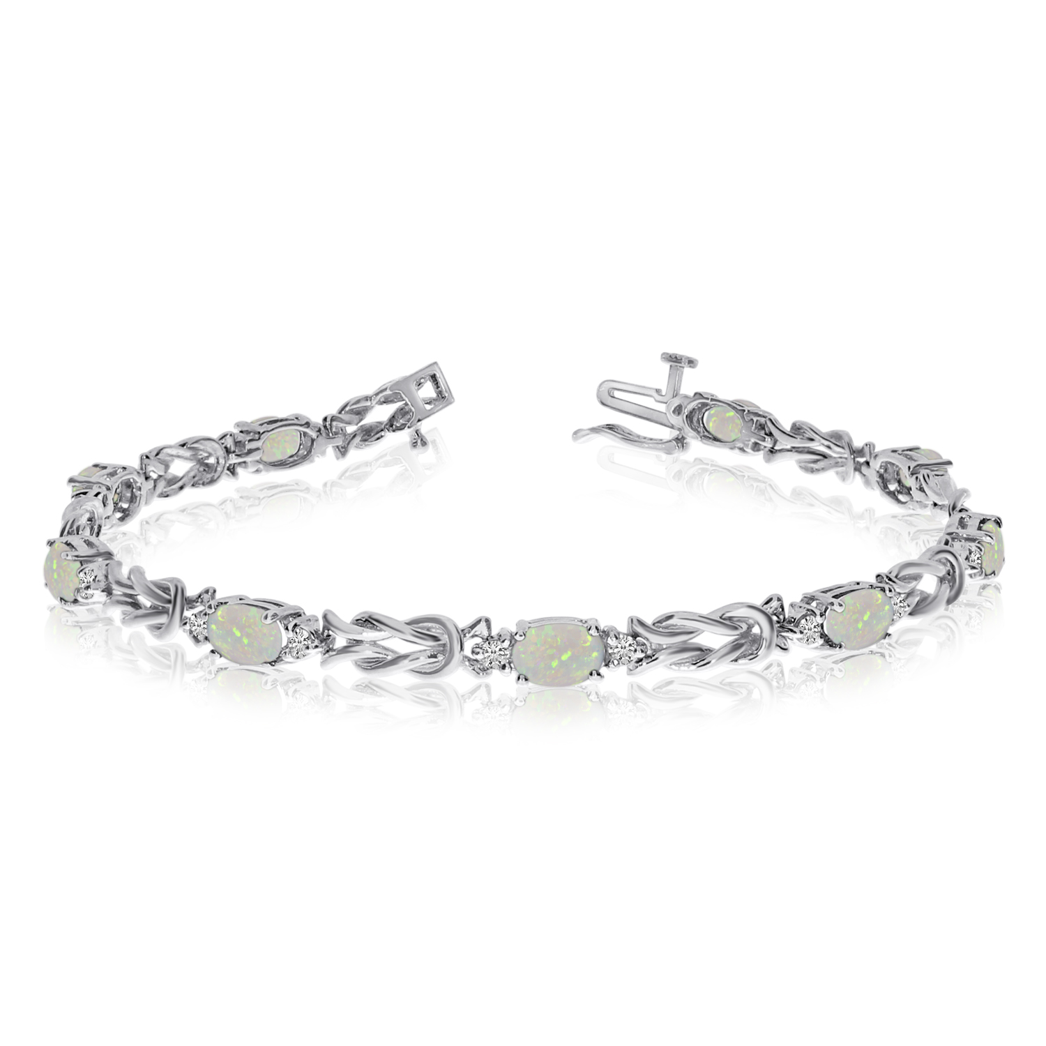 14k White Gold Natural Opal And Diamond Tennis Bracelet by LCD