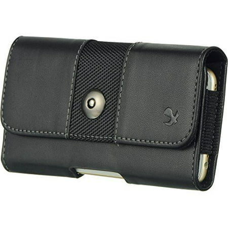 Black4 Horizontal Belt Clip Holster Leather Pouch Case for Nokia Lumia 635