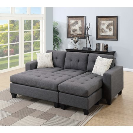 Reversible Sectional W Xl Cocktail Ottoman In Blue Grey