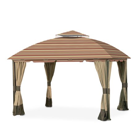 Garden Winds Replacement Canopy Top Cover for the South Hampton Gazebo -Standard 350 - Stripe Canyon