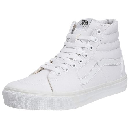 Vans VN-0D5IWOO: Unisex SK8-Hi True White Canvas Sneakers (10 B(M) US Women / 8.5 D(M) US Men)