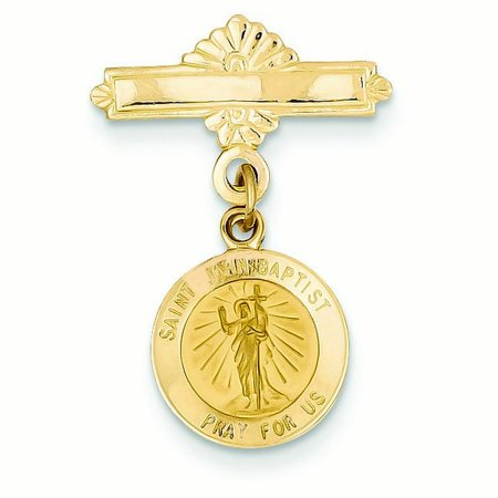 14k Yellow Gold Saint John the Baptist Medal Pin - 1.5 (Baptist Medal Pin)